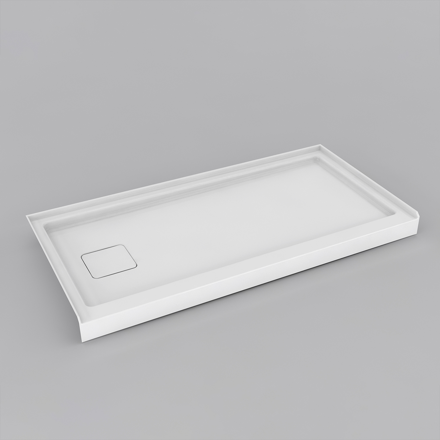 Retrofit End Drain Shower Base with Covered Drain